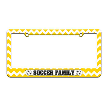 Soccer Family - Sports - License Plate Tag Frame - Yellow Chevrons Design