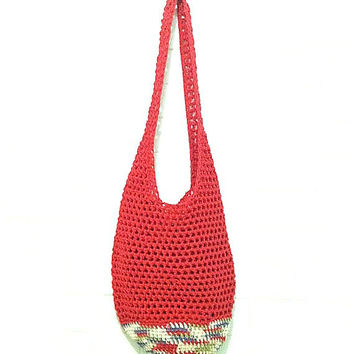 Beach Bag in Red, Crochet Beach Bag, Boho Market Bag, Red Sling Bag, Large Sling Bag, Huge Red Market Bag, Reusable Grocery Bag, Beach Tote