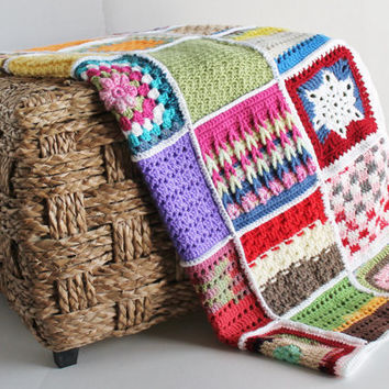 Handmade Sampler Afghan - Granny Square Patchwork Quilt - Colorful Crib Blanket