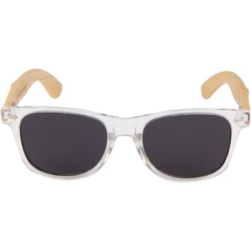 Clear Hybrid Bamboo Wood Sunglasses