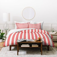 Allyson Johnson Red Stripes Duvet Cover