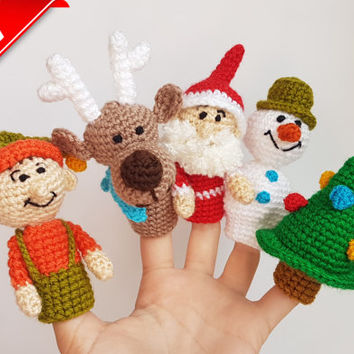Christmas Finger Puppets crochet puppets Christmas toys finger theater Santa Claus Snowman Christmas tree Deer Elf christmas gift  baby gift