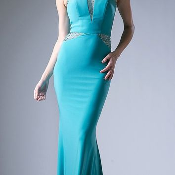 Mint Fit and Flare Evening Gown Scoop Neck with Sheer Cut Out Bodice