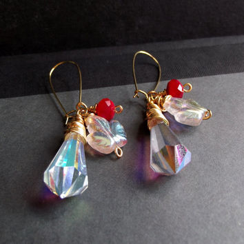 Holiday Dangle Earrings, Long Chandelier Prism Crystal Drop Earrings, Versatile Red and Gold Christmas Jewelry