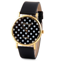 Black Geneva Luxury Quartz Watch with Rhinestones