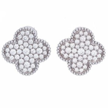 Van Cleef & Arpels Magic Alhambra, Large Size Diamond and White Gold Earrings