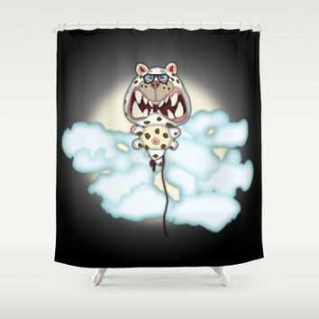 Funny Scared White Cat Balloon With Glasses Shower Curtain by Tees2go
