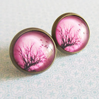 Haunted Tree Pink Stud Earrings