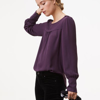 Covered Shoulder Button Blouse | LOFT