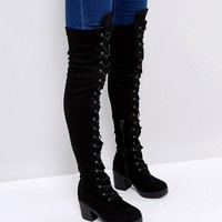 Truffle Collection Chunky Heel Over Knee Boots at asos.com