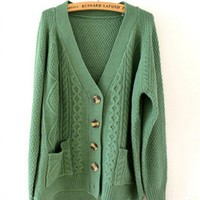 v-neck Retro Green Long Sleeve V-Neck Single-Breasted Big Pockets Sweater  Other type  Solid Pop  style zl826001-Green in Sweaters - Tops Indressme
