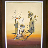 Vintage Framed Original Acrylic Desert Painting, Yellow Summer Stone house, Mediterranean Surrealism Landscape, Home Office Wall hanging