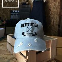 Gryffindor Quidditch Harry Potter, Baseball Cap, Denim Cap, Jean Cap, Harry Potter Cap, Girlfriend gift, Low-Profile,  Baseball Hat