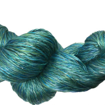 Handspun Merino Silk Wool, variegated greens and blues, 3 skeins totalling 527 yards 200g, approx sport weight,  silky smooth luxury yarn