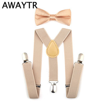 AWAYTR New 16 Colors Children Suspenders Elastic Adjustable Y-Back Braces Clip-on Bowtie Bow Tie Ties Kids For Wedding Party