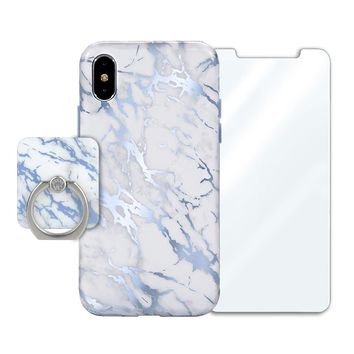 White Marble Blue Chrome Bundle Set