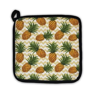 Potholder, Hand Drawn Pattern With Pineapple In