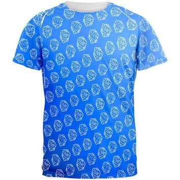 DCCKU3R D20 Gamer Critical Hit and Fumble Blue Pattern All Over Mens T Shirt