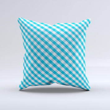 Subtle Blue & White Plaid  Ink-Fuzed Decorative Throw Pillow