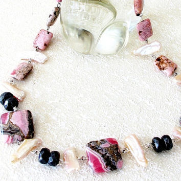 Biwa pearl and rhodochrosite artisan gemstone necklace, pink stone jewelry, solid sterling silver