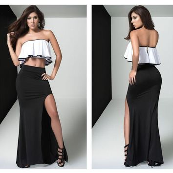 4457 Two Piece Long Gown