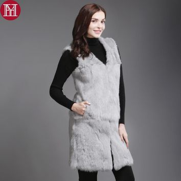 2017 New Style 100% Real Genuine Rabbit Fur Vest Women Long Style Thick Warm Winter Rabbit Fur Gilet Real Natural Fur Coat