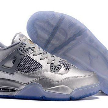 PEAPVX Jacklish Air Jordan 4 Retro Custom Liquid Metal All Silver For Sale