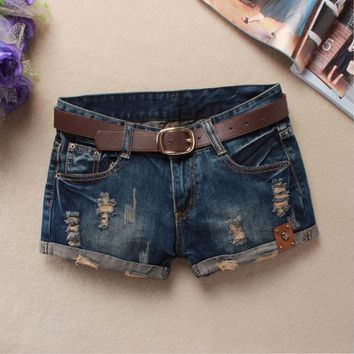 Summer Shorts Women Vintage Club jeans Denim Shorts Hip Hop Skull Patch Ripped Shorts for women Without Belt