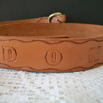 Hand Tooled Leather Belt Embossed DON Unisex Fashion Accessories