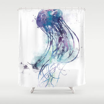 Jellyfish Shower Curtain by monnprint