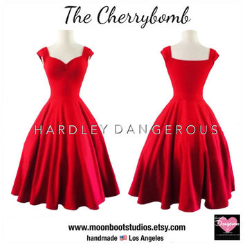 The CHERRYBOMB Dress in Cherry Red, ROCKABILLY Swing Dress, CHRISTMAS Pin Up, 1950s Style Pin Up Cherry Red Party Dress