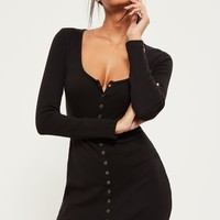 Missguided - Black Ribbed Popper Mini Dress