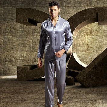 XIFENNI Brand Satin Silk Men Pajamas Luxurious Embroidery Sleepwear Long-Sleeved Pyjama Sets High Quality Casual Home Wear 3315