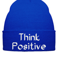 THINK POSITIVE EMBROIDERY HAT - Beanie Cuffed Knit Cap