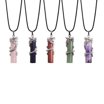 Popular In Summer Natural Stone Necklace Pendant Round Charm Crystal Cylindrical Chinese Dragon Guardian Whistle For Woman Gift