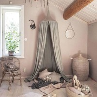 Creative Kids Bedding Round Dome Bed Canopy Cotton Linen Mosquito Net Curtain for Children Girl Room Decor