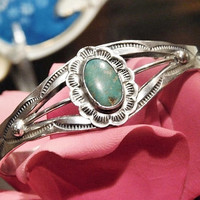 Green Turquoise Cuff Fred Harvey Era Turquoise Cuff Southwestern Western Native American Sterling Silver Cuff Nevada Turquoise 1920s 1930s