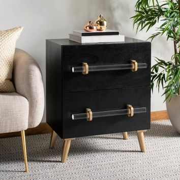 Safavieh Sienne 2 Drawer Nightstand - Black / Gold | Overstock.com Shopping - The Best Deals on Nightstands