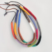 Eco-friendly Felt Necklace Handmade Fiber Necklace Gift For Her Textile Wool Jewelry Metal Free Long Necklace Women Teens Accessories