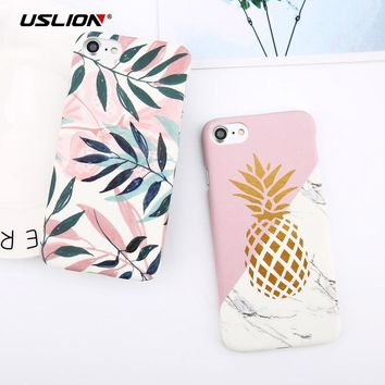 USLION Candy Color Pineapple Marble Phone Case For iPhone 8 8 Plus Flower Leaf Fish Scale Print Hard PC Cover Cases For iPhone8