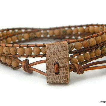 Whiskey Barrel Mens Bracelet Leather Wrap Bracelet Double Wrap