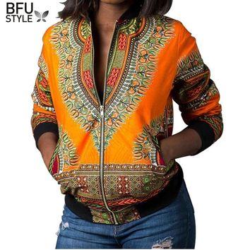 2018 Sexy Indie Folk Womens Jacket Coat Dashiki African Printed Bomber Jacket Autumn New