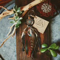 DK-02, FREE U.S shipping, Dreamcatcher keyring with hackle feathers charm, recycled yarn,upcycled,native american, color option,hippie,boho