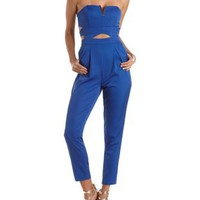 Gold-Embellished Cut-Out Strapless Jumpsuit by Charlotte Russe - Blue