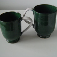 Coffee Cup \ Tea Cup Large Handled 10 oz pottery Mug,  Forest Green & White, Wheel Thrown Pottery ceramic