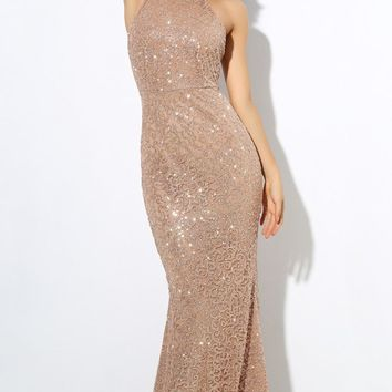 Ready For My Crown Champagne Glitter Sleeveless Mock Neck Backless Halter Maxi Dress