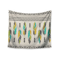 "Amanda Lane ""Painted Feathers Cream"" Tan Tribal Wall Tapestry"