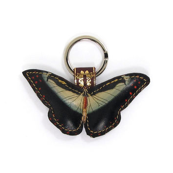 Leather Key Ring / Bag Charm - Dark Angel Butterfly