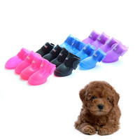 4PCS Dog Shoes Candy Colors Boots Waterproof Rubber Pet Rain Shoes Booties S/M/L