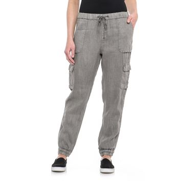 Washed Grey Linen Cargo Pants